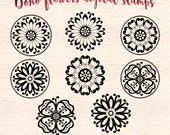 Boho flowers digital stamps, flower clip art, floral clip art, hippie flowers digital stamps, DS45