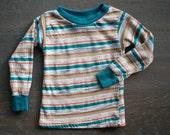 Vintage 80s Teal STRIPE COTTON Pullover Shirt 2T