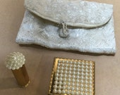 Vintage Make Up Bag Dorset-Rex Fifth Avenue Pearl Compact and Lipstick Brides Purse