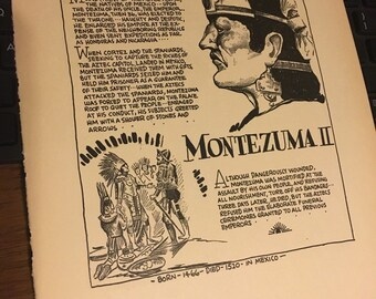 Book page print Montezuma II The emporer of the Sun-worshippers 7x11approx. Great for framing for the collector. History.