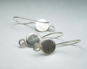Fine Silver and Sterling Silver Ear Wires 10mm Disk Disc w/Ring French Hook 20.5 Ga. Thai Silver 1 Pair E-118