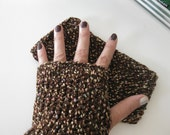 Fingerless Gloves -Crochet with Mixed Colors Dark Brown