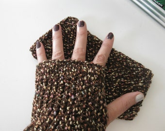 Crochet with Mixed Colors Dark Brown-Hand warmer