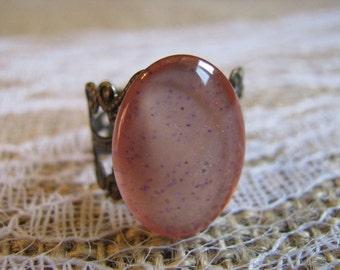 Peach and Purple Nail Polish Ring