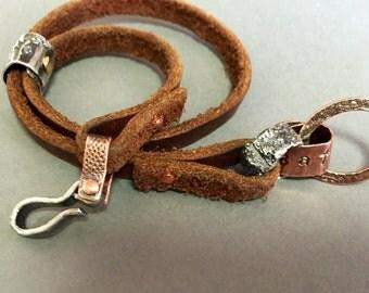 Links n Leather -:- wrap bracelet..rustic boho jewelry..message sentiment..