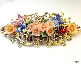 Midnight in the Fairy Garden,Crystal Barrette,Peach Flowers,Ladybug,Tiny Insects,Honey Bee,Blue Butterfly,Swarovski Crystals,Hair Jewelry