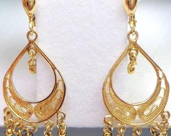 Solid,14K Gold Chandelier Earrings, Yellow Gold Earrings, Lever Backs, Gold Filigree, Dangle Earrings, Vintage Treasure, Hallmarked