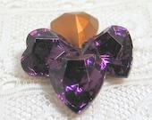 4 - 10x9 Purple Amethyst Swarovski TTC Heart Rhinestones, Gold Foiled and Pointed Backs