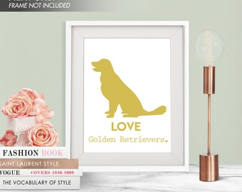 LOVE GOLDEN RETRIEVERS - Art Print (Featured in Golden Cup) Love Animals Art Print and Poster Collection