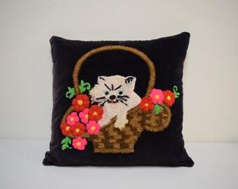 Vintage 1930s Handmade Yarn Punch Needle Pillow Kitten in Basket on Velveteen