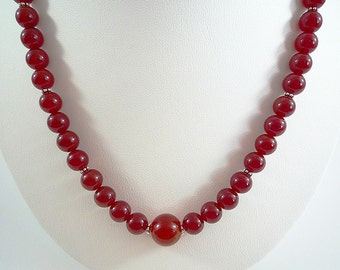 Carnelian Necklace Red Carnelian Gemstone Necklace Red Orange Carnelian Necklace Beaded Silver Carnelian Strand Carnelian Bead Necklace