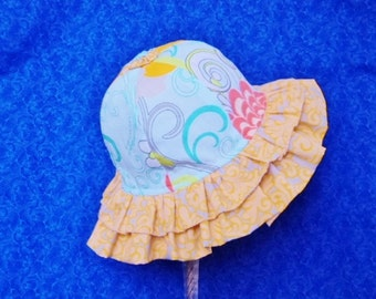 Baby Sunhat Double Ruffle with Chin Straps