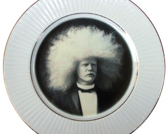 The Amazing Albino Afro Man - Circus Freak Series  - Altered Vintage Plate 7.65""