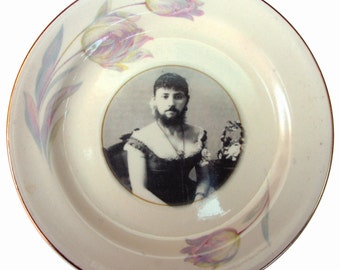 """The Bearded Lady - Circus Freak Series  - Altered  Vintage Plate 6.2"""""""