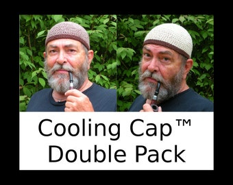 Mens Cotton Chemo Cooling Cap™ Double Pack: Oatmeal and Chocolate Twist Bands