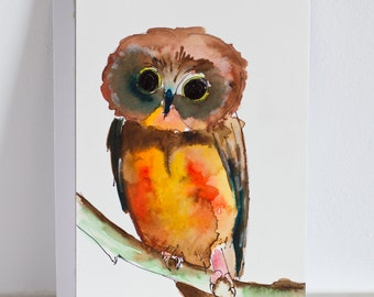 Mr. Owl - Adopt-a-Pet series - Original - Watercolor Painting