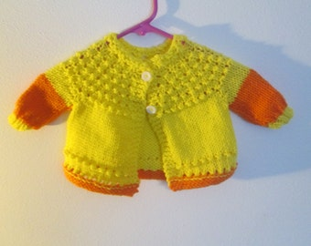 Yellow and Orange Cardigan Sweater by SuzannesStitches, Yellow and Orange Sweater, Baby Girl Easter Sweater, Baby  Sweater, Cardigan, Baby
