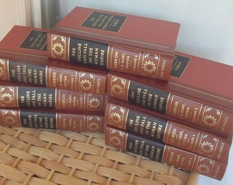 NEW CONDITION The Decline and Fall of the Roman Empire - Gibbon - 1974 Set of All 7 Volumes Red Leatherm, Gilt, Gorgeous Illustrations