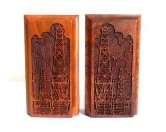 Vintage Lasercraft Laser Cut Oil Rig Walnut Bookends