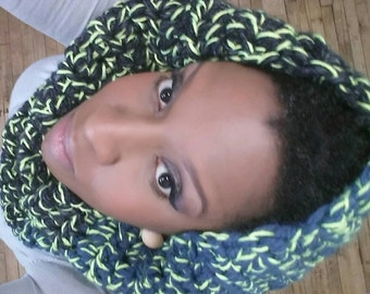 blue Chunky Cowl  pullover scarf? Blue green algae  neckwarmer  from the {twisted Sister} collection