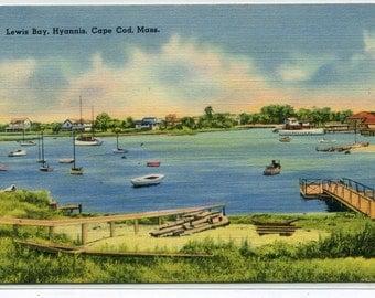 Lewis Bay Hyannis Cape Cod Massachusetts 1939 linen postcard
