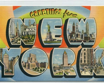 Greetings From New York City Large Letter linen postcard