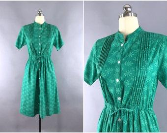 Indian Cotton Dress / Sundress Day Dress / Boho Bohemian Dress Shirtdress Summer Dress / Green Block Print