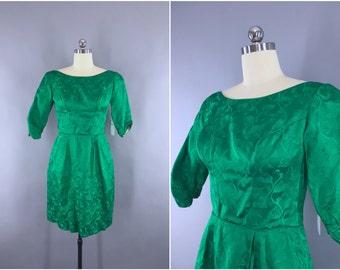 Vintage 1950s Dress / 50s Cocktail Dress / Emerald Green Satin Party Dress / Reception Wedding Dress / Tulip Floral Damask Pattern