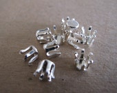 10 Sterling Silver Snap Settings, 6mm with 6 prongs