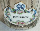 Staffordshire Bone China BOURBON Liquor Bottle / Decanter Hang Tag