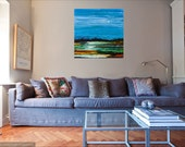Re-Worked Giclee Canvas Painting of Lake with Moon and Mountains Colorful Lake 30 x 30 x3/4 inches Ready to Hang