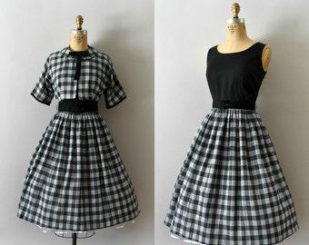 Vintage 1950s Dress - 50s Black and White Check Dress Set