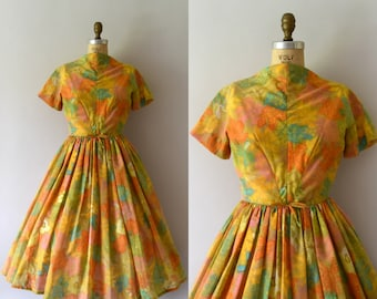 1950s Vintage Dress - 50s Jerry Gilden Bright Yellow Floral Dress