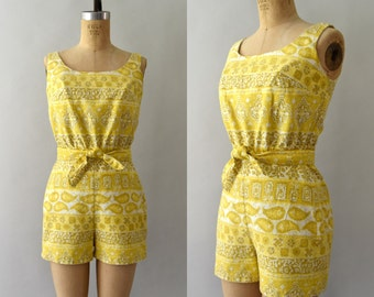 1950s Vintage Swimsuit - 50s Cole of California Yellow Cotton Playsuit Romper Bathingsuit