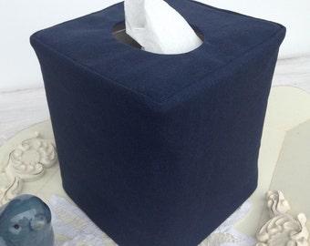 Navy Linen reversible tissue cover