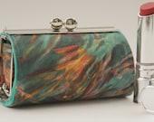 NEW Lipstick Case/ Lipbalm case/ silver metal frame/ Liberty cotton/brush strokes/orange brown seagreen