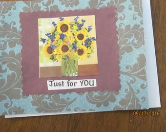 "handcrafted greeting card ""just for you"""