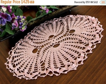 Pink Crochet Doily, Lacy and Oval, Vintage Hand Made Doily 13359