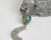 Long Silver Tassel Necklace, Blue Cloisonne Necklace, Flower Beaded Necklace, Boho Tassel Necklace, Bohemian Jewelry, Vintage Cloisonne Bead