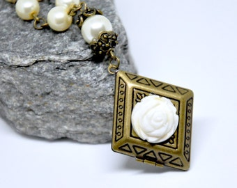 Ivory Pearl Locket Necklace, Rose Necklace, Flower Locket, Antique Brass Locket, Ivory Pearl Necklace, Bridal Jewelry, Cream Floral Locket