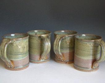 Hand thrown stoneware pottery mugs set of 4  (M-3)
