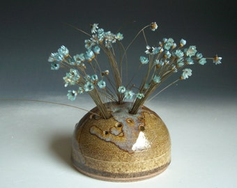 Hand thrown stoneware pottery dried weed jar  (WP-12)