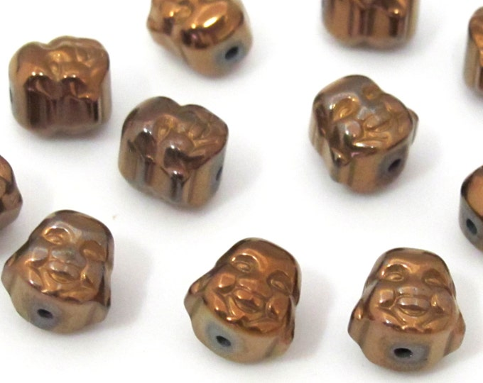 4 Beads  -  Laughing Buddha coppery brown color plated hematite gemstone beads 8 mm - BD878