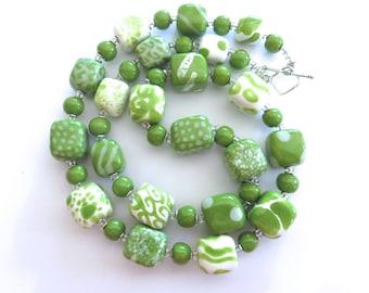 Beaded Necklace, Kazuri Beads,  Fair Trade, Ceramic Jewellery, Green and White