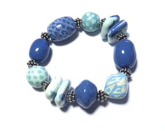 Kazuri Bangle, Blue Ceramic Bracelet