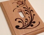 Woodburned light switch plate cover - floral