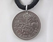 Sixpence Coin Necklace, England 6 Pence, Mens Necklace, Womens Necklace, Coin Pendant, Leather Cord, 1967