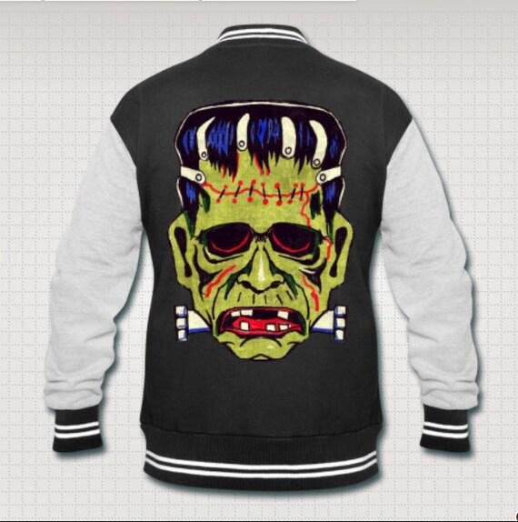 Frankenstein Halloween Mask monster varsity jacket