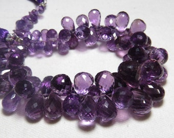 259 Ctw - 8.5 inches - Truly Gorgeous - High Quality - Natural Dark Purple Color - AMETHYST -Faceted Tear Drops Briollettes size - 7 - 13 mm