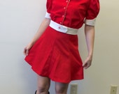 Mod Red Mini Skirt Top Outfit Vintage 60s 1960s XS